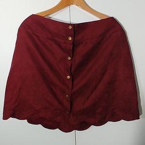 Xhilaration Burgundy Button Down Shirt w/ Scallop